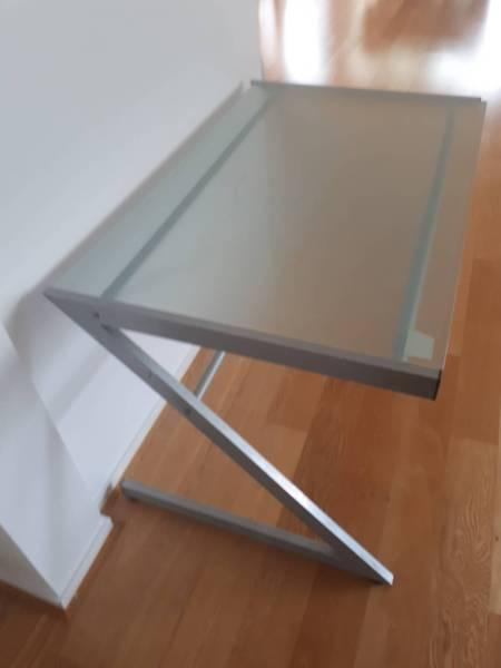 Stylish glass top office desk with metallic frame