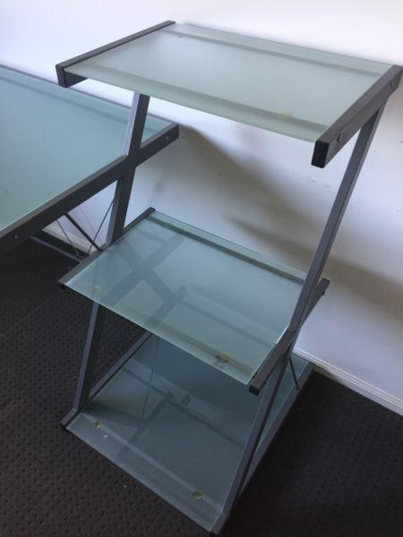 Glass Top Desk with metal frame