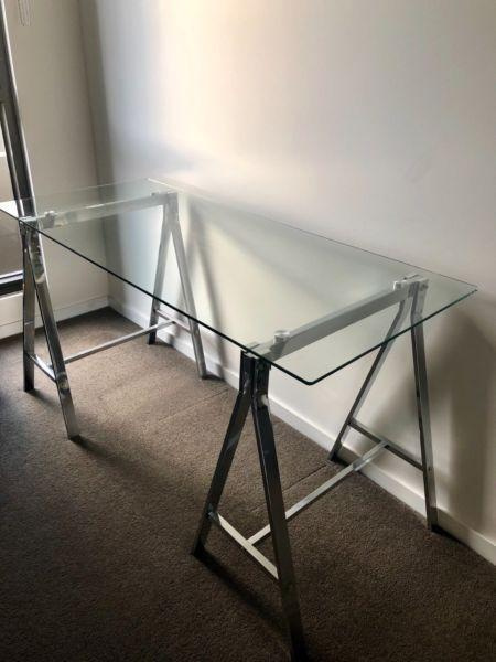 Freedom Glass Trestle Desk