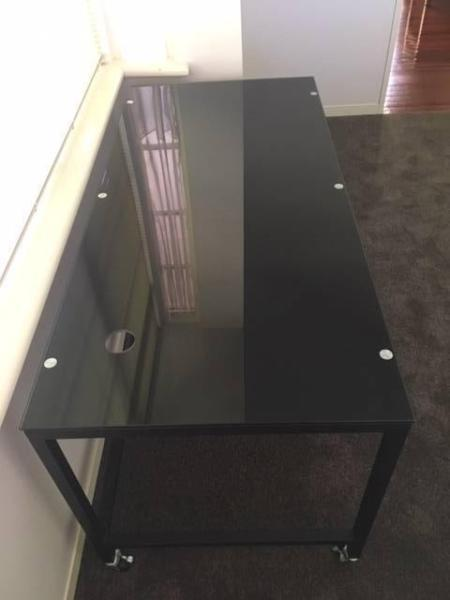 Modern Black glass desk on lockable castors -NthBalwyn QUICK SALE