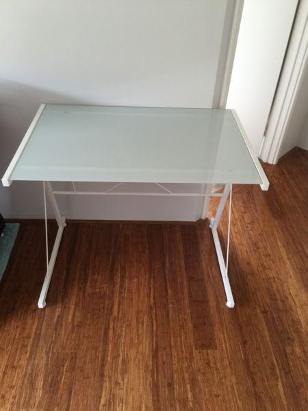 Desk, durable tempered glass top with white metal frame
