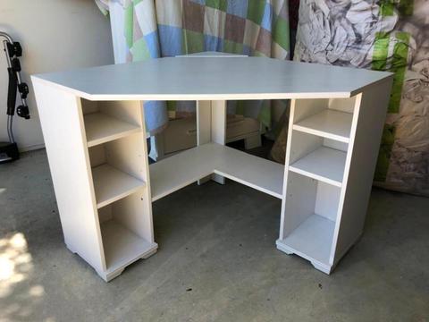 IKEA white wash corner computer table