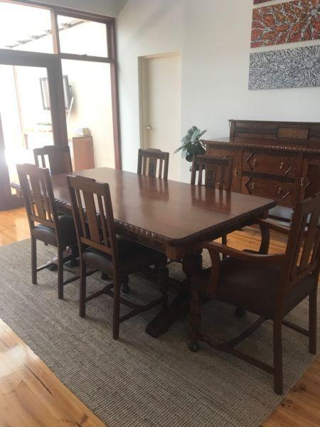 Antique Dining Table Matching Buffet
