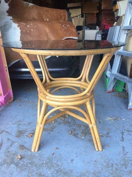 Vintage Cane Dining Table