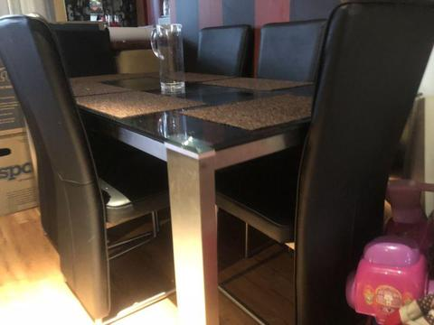 Glass / Stainless Steel Dining Table