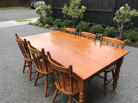 Baltic Pine Dining Table with 6 Chairs