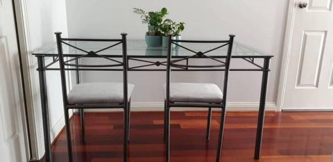 FREEDOM FURNITURE - 6 Seater Glass Dining Table & 6 Chairs