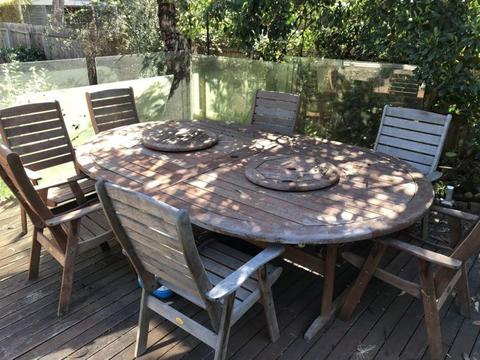 Very large hardwood outdoor dining table set
