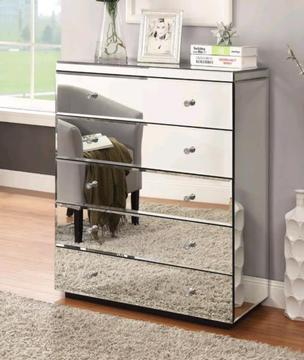 Brand New Mirrored Tallboy With 5 Drawers