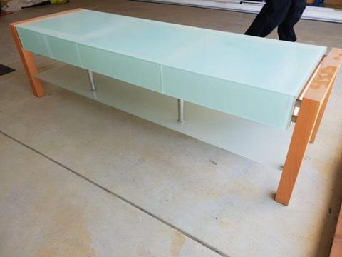 Green glass TV unit $150