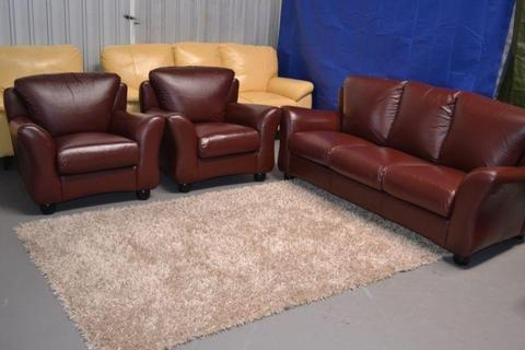 Burgundy Genuine Leather Lounge Suite