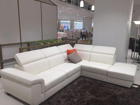 Leather corner lounge suite - modular