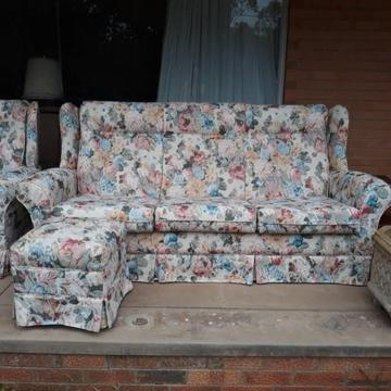 Three seater modern floral lounge sofa Warwick fabric