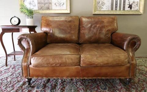 STUNNING CIGAR AGED LEATHER CHESTERFIELD SOFA COUCH LOUNGE SUITE