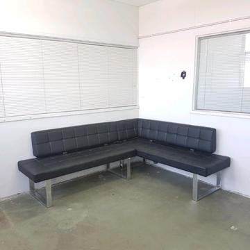 Black Leather Corner Sofa Brick7 Sale
