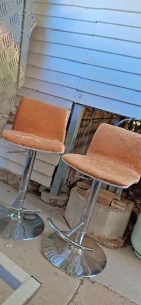 Velvet retro gold velvet bar stools re upholstered chair X2