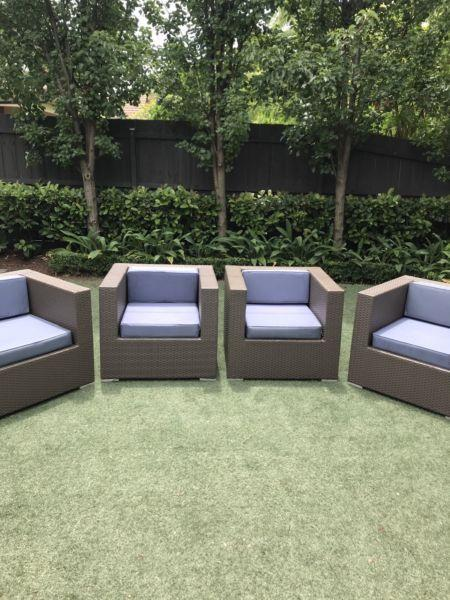 4 x Outdoor lounge arm chairs with cushions