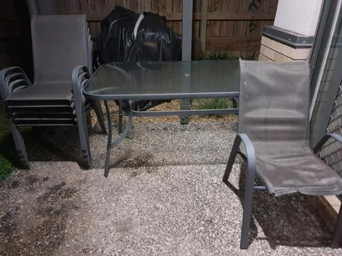 6 seater glass outdoor table and chairs
