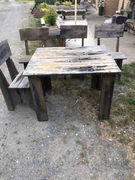 Hardwood out door table and chairs