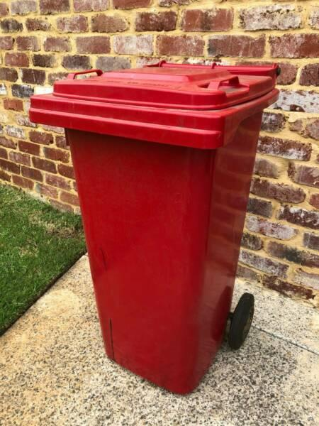 Rubbish bin waste bin Red used in garage shed. As pictured 47cm x