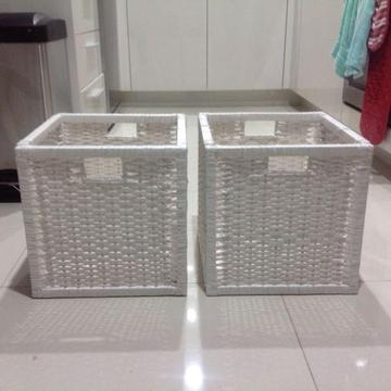 IKEA white cane storage baskets x 7