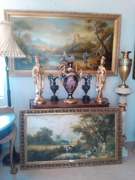 oil painting large big gold frame antique style