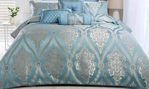 Quilt Cover Set plus cushions, velvet tassel throw & neck roll