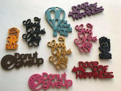 Quirky wooden fridge magnets