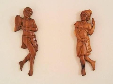 Vintage Hand Carved Wood Native Wall Art