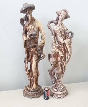 Large Old Decorative Feature Figurines - 50cm (H)
