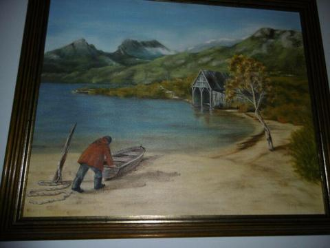 Boat shed oil painting