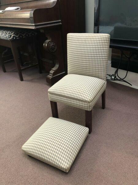 Small child's chair and footstool, upholstered