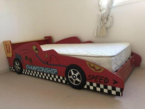 Toddler Racing car bed with brand new mattress