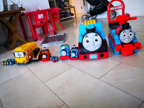 Thomas wooden trains mega blocks ride ons