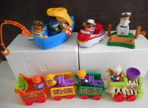 FISHER PRICE LITTLE PEOPLE BOATS AND TRAIN