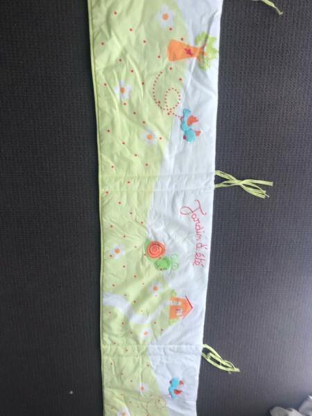 Baby bed bumper and floor cushion